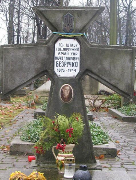 Могила генерала Марка Безручко на православном кладбище в Варшаве