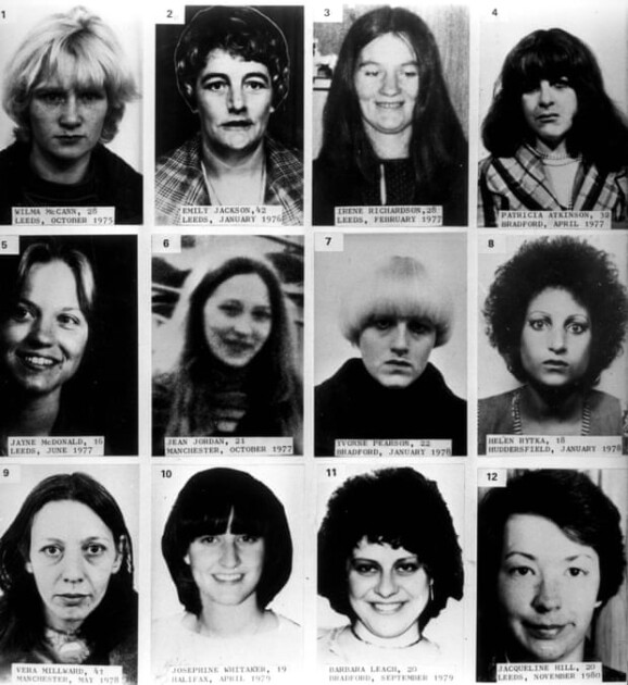 """Жертвы серийного убийцы Питера Сатклиффа, известного как """"Йоркширский потрошитель"""""""