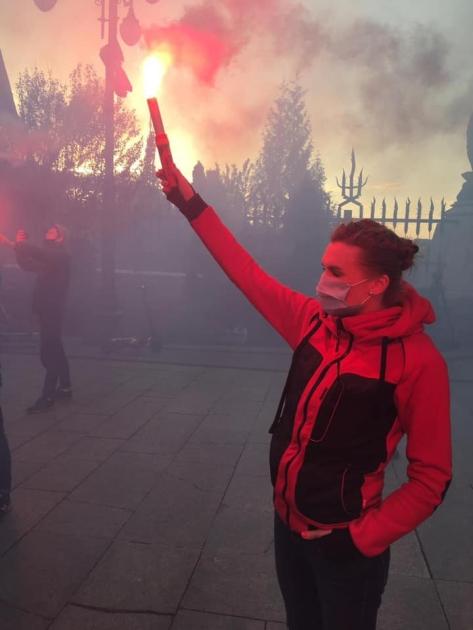 Соломія Бобровська на акції протесту біля Офісу президента / Facebook Solomiia Bobrovska