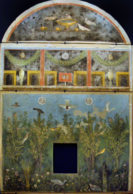 """Одна из фресок из так называемого Дома фруктовых деревьев в Помпеях, в двух скромных спальнях которого нашлись """"портреты"""" груши, вишни, сливы, инжира и лимонного дерева"""
