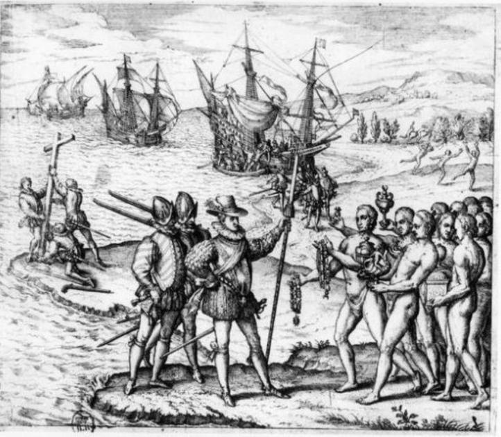Старинная испанская гравюра «Прибытие Колумба в Америку» / elnacional.cat