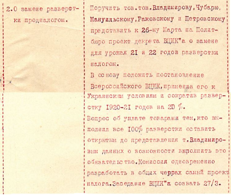 Рішення політбюро ЦК КП(б)У від 25 березня 1921 року про введення продподатку в Україні. З матеріалів ЦДАГО України