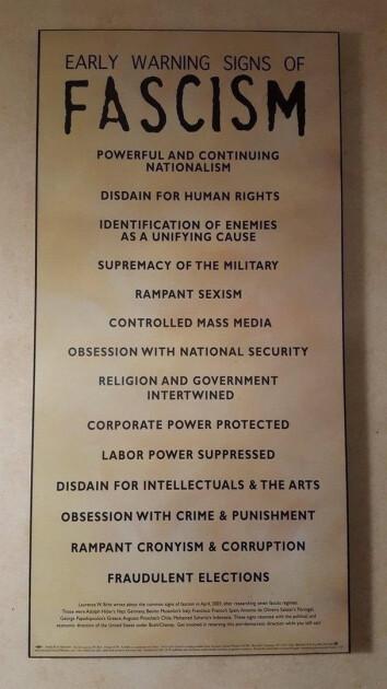 Перечень признаков фашистского государства из Американского музея Холокоста