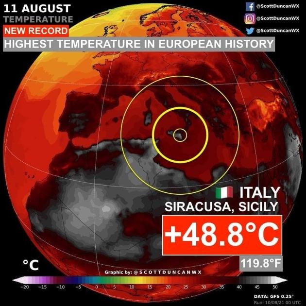 Температурний рекорд зафіксувала автоматична метеостанція у місті Сиракузи